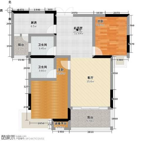 �湖世纪城2室0厅2卫1厨94.00㎡户型图