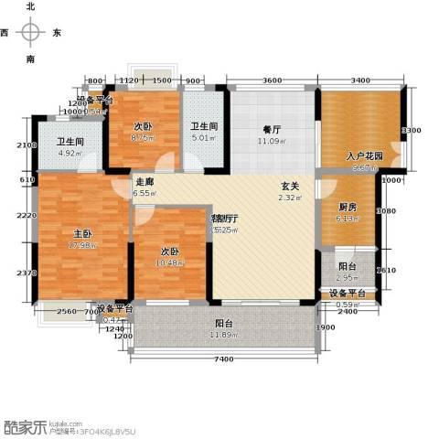 紫园3室1厅2卫1厨139.00㎡户型图