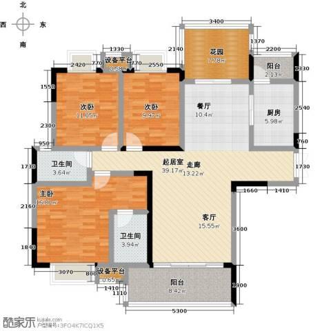 �湖世纪城3室0厅2卫1厨133.00㎡户型图