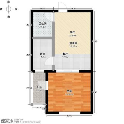 悦正碧林湾1室0厅1卫1厨48.00㎡户型图