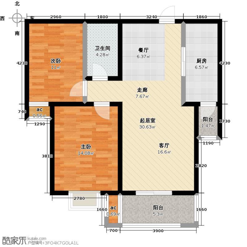 悦正碧林湾89.94㎡A2户型两室两厅一卫户型2室2厅1卫