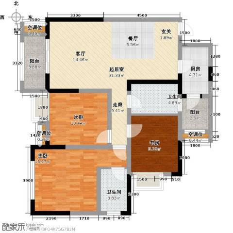 望龙东郡3室0厅2卫1厨115.00㎡户型图