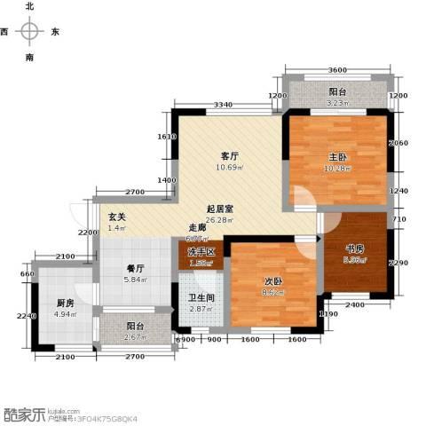 望龙东郡3室0厅1卫1厨86.00㎡户型图