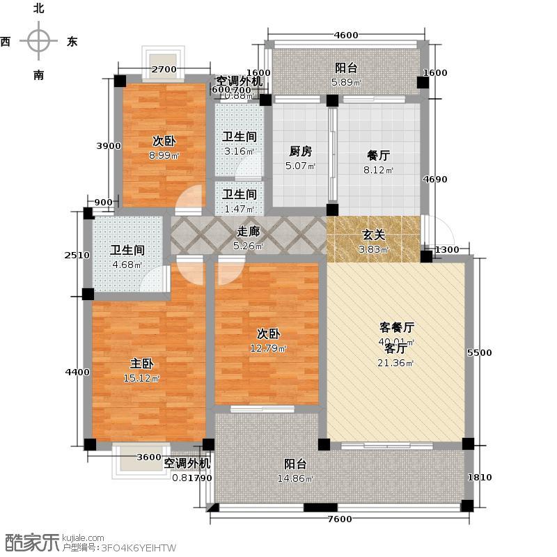 广源国际社区127.29㎡20#2-A2户型322户型3室2厅2卫