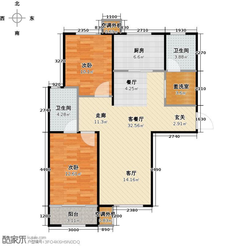 丽景蓝湾C区107.42㎡E1户型两室两厅两卫户型2室2厅2卫