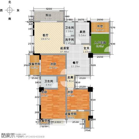 金山俪园3室0厅2卫1厨123.00㎡户型图