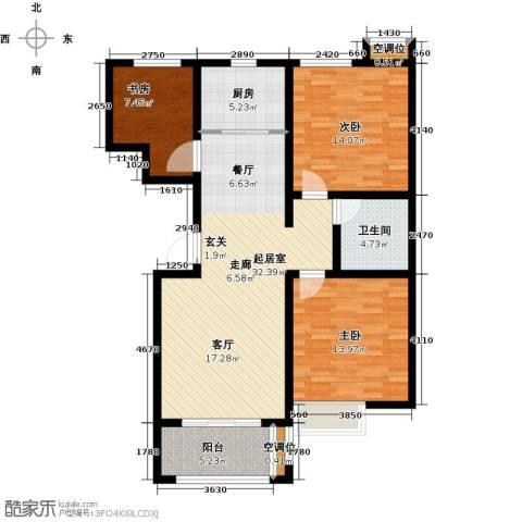 昊和沁园3室0厅1卫1厨121.00㎡户型图