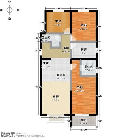 水畔明珠3室0厅2卫1厨126.00㎡户型图