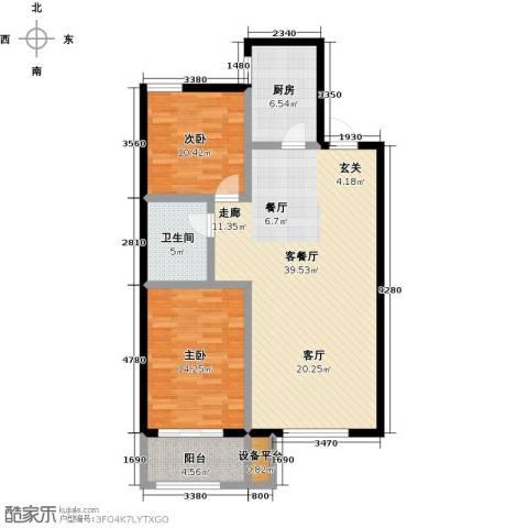 蓝钻庄园2室1厅1卫1厨115.00㎡户型图