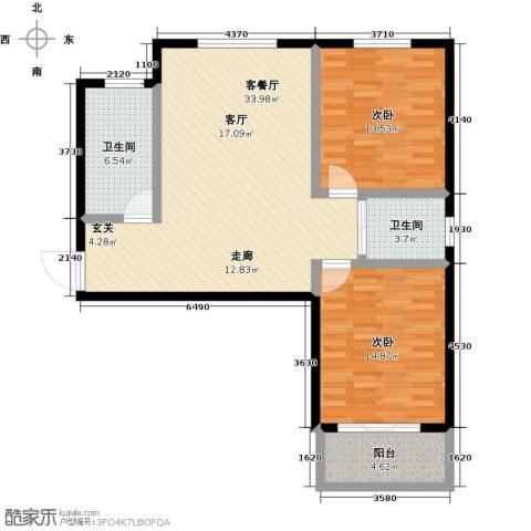 澜点家园2室1厅2卫0厨110.00㎡户型图
