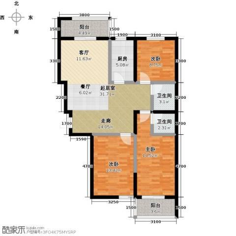水畔明珠3室0厅2卫1厨127.00㎡户型图