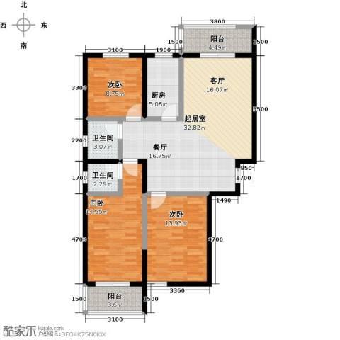 水畔明珠3室0厅2卫1厨128.00㎡户型图