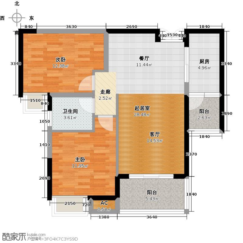 柏庄丽城91.69㎡37号楼J户型 2室2厅1厨1卫户型2室2厅1卫
