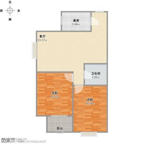 天朗西子湖2室1厅1卫1厨109.00㎡户型图