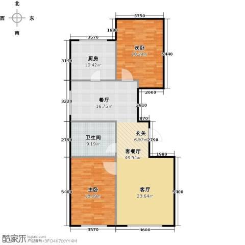 百福汇2室1厅1卫1厨136.00㎡户型图