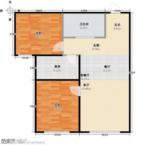 百福汇2室1厅1卫1厨96.00㎡户型图
