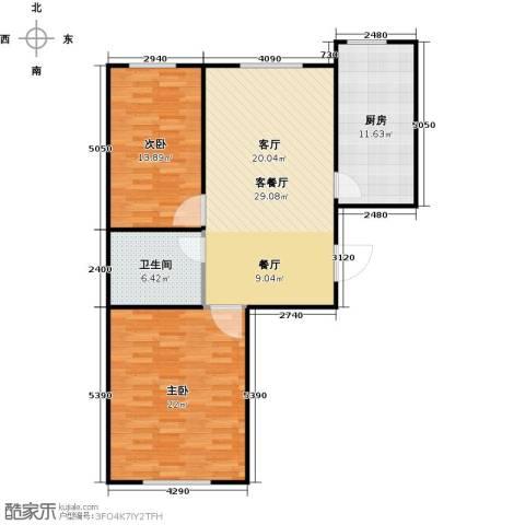 百福汇2室1厅1卫1厨110.00㎡户型图