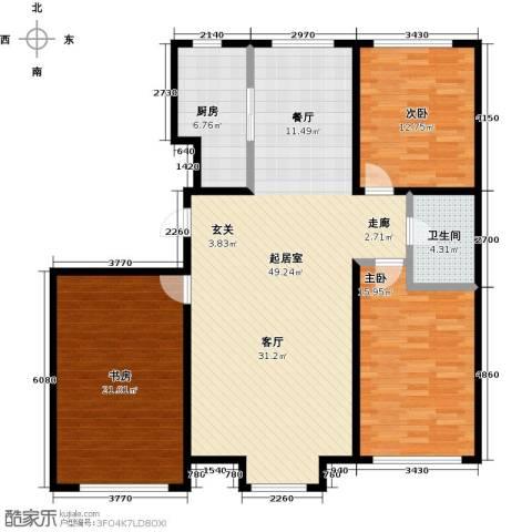 香格里拉花园3室0厅1卫1厨121.00㎡户型图