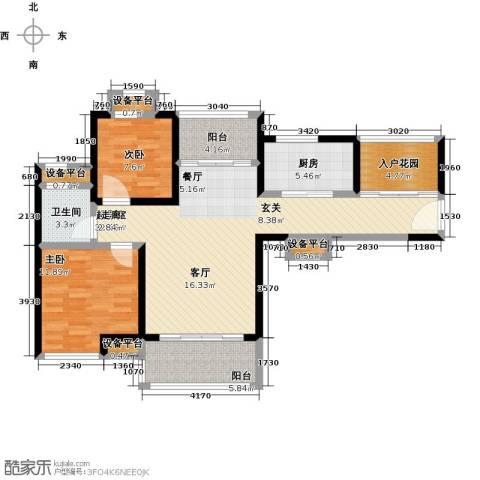 君悦黄金海岸2室0厅1卫1厨117.00㎡户型图