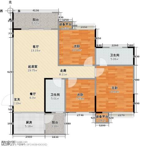 城南壹�3室0厅2卫1厨118.00㎡户型图