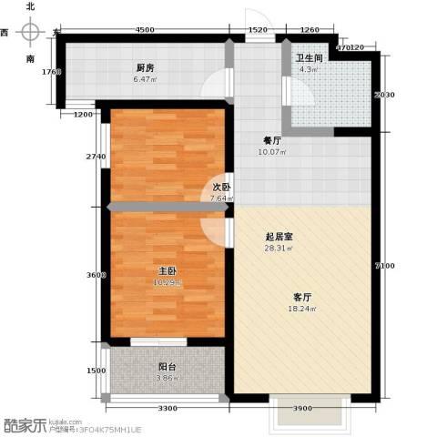 水畔明珠2室0厅1卫1厨91.00㎡户型图