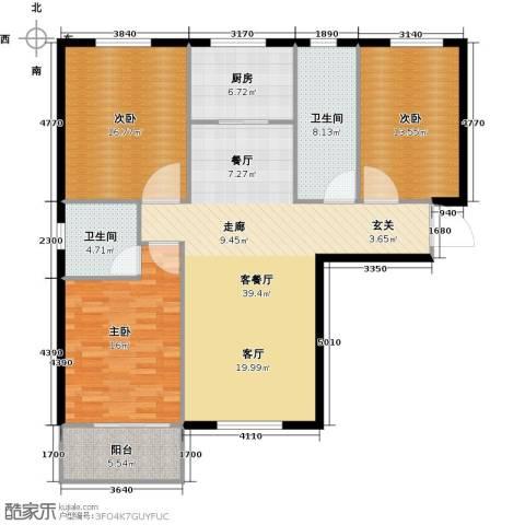 直隶尚都3室1厅2卫1厨121.00㎡户型图
