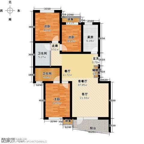东湖庄园3室1厅2卫1厨120.00㎡户型图