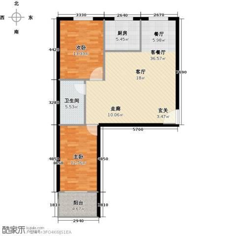 和平嘉园2室1厅1卫1厨108.00㎡户型图