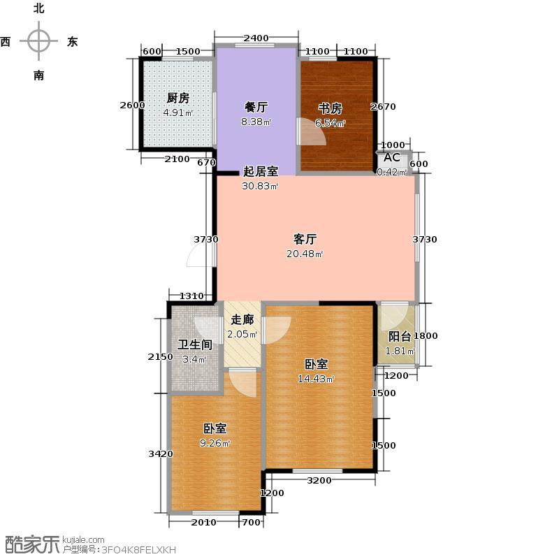 联益家园三期122.00㎡G户型三室两厅二卫户型3室2厅2卫
