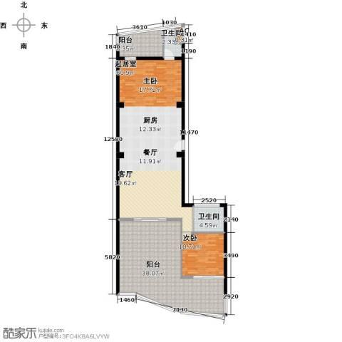 钻石海岸1室0厅2卫0厨136.00㎡户型图