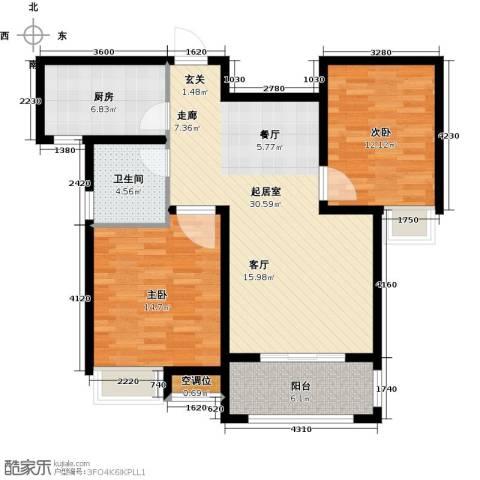 昊和沁园2室0厅1卫1厨108.00㎡户型图