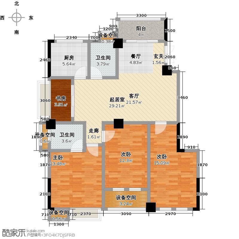 金山俪园125.29㎡2栋A户型3室2厅2卫