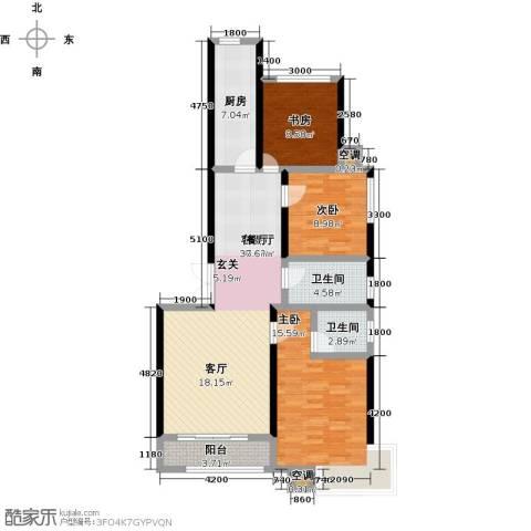 维多利亚夏郡3室1厅2卫1厨132.00㎡户型图