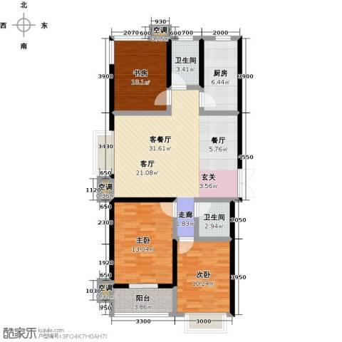 维多利亚夏郡3室1厅2卫1厨135.00㎡户型图