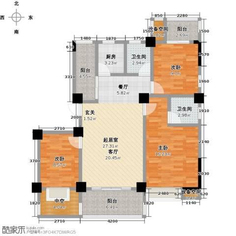 金山俪园3室0厅2卫1厨117.00㎡户型图