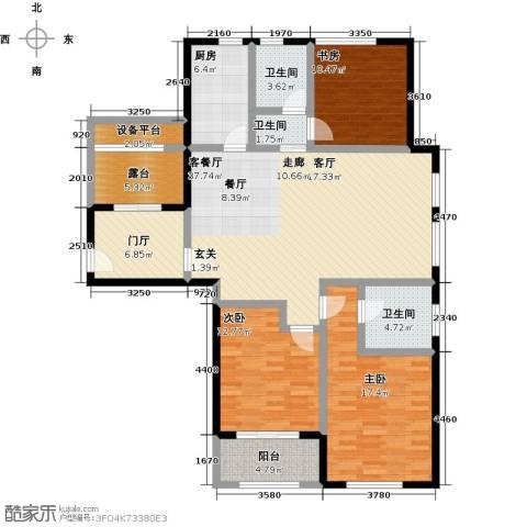 国华天玺3室1厅3卫1厨132.00㎡户型图