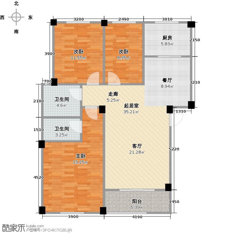 越通三味舒屋109.23㎡1,4号楼户型3室2厅2卫