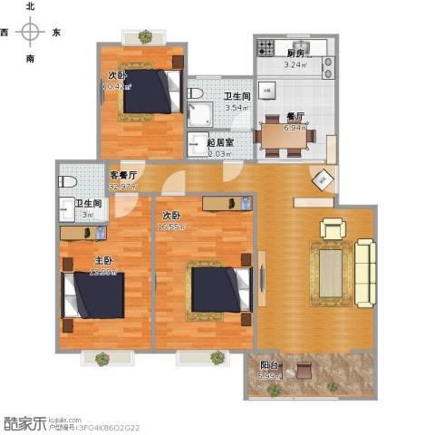 秋景怡园3室2厅2卫1厨125.00㎡户型图