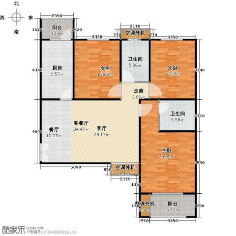 恒隆广场3室1厅2卫1厨155.00㎡户型图