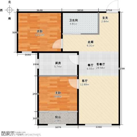 百福汇2室1厅1卫1厨84.00㎡户型图