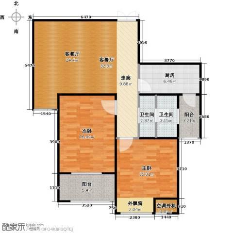 恒隆广场2室1厅2卫1厨116.00㎡户型图