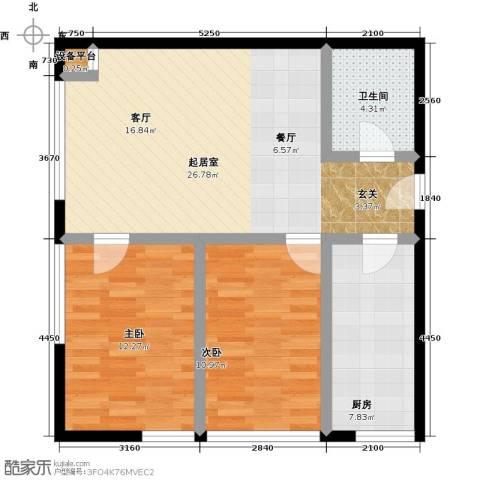 中和文化广场2室0厅1卫1厨92.00㎡户型图