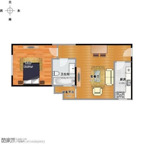 南海雅苑1室1厅1卫1厨62.00㎡户型图