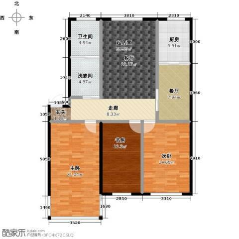 威达花园3室1厅1卫1厨112.00㎡户型图
