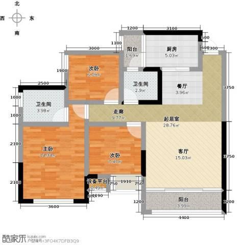 阳光英伦城邦3室0厅2卫1厨112.00㎡户型图