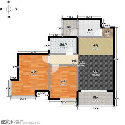 世隆华都2室0厅1卫1厨84.00㎡户型图