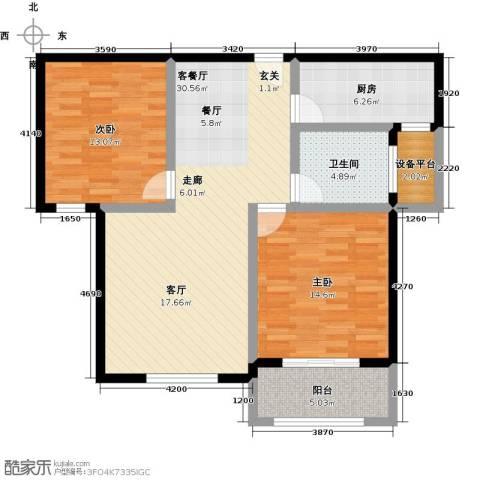 国华天玺2室1厅1卫1厨88.00㎡户型图
