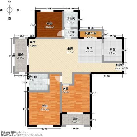 国华天玺3室1厅3卫1厨140.00㎡户型图