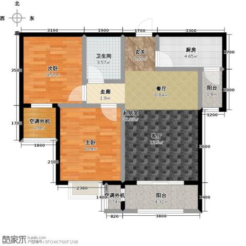 昆河壹号2室0厅1卫1厨85.00㎡户型图
