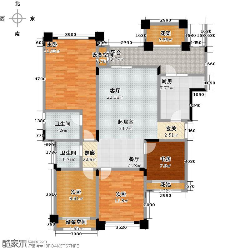 昕晖香缇漫城111.71㎡F4 四室两厅双卫111.71平户型4室2厅2卫
